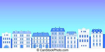 ville, silhouette, espace, grand, moderne, horizon, cityscape, copie, bannière, vue