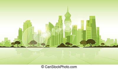 ville, silhouette, espace, panama, horizon, vert, gratte-ciel, fond, cityscape, copie, vue