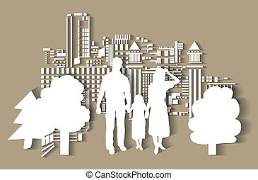 ville, silhouette, flat., famille, gens
