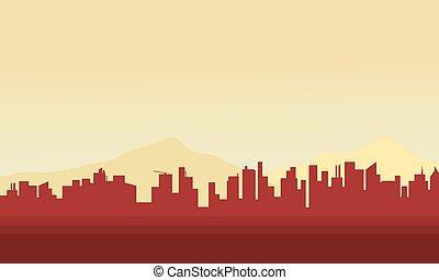 ville, silhouette, grand