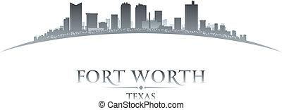 ville, silhouette, horizon, fond, blanc, valeur, texas, fort