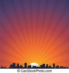 ville, silhouette, levers de soleil