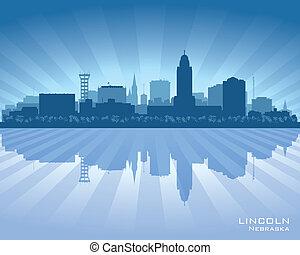 ville, silhouette lincoln, nebraska, horizon, vecteur