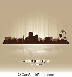 ville, silhouette, mexique, albuquerque, horizon, nouveau