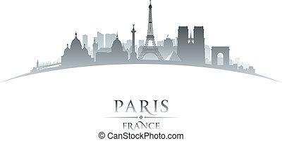 ville, silhouette, paris france, horizon, fond, blanc