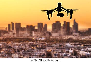 ville, silhouette, paris, panorama, voler, bourdon, au-dessus