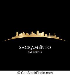 ville, silhouette, sacramento, horizon, arrière-plan noir, californie