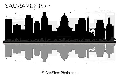 ville, silhouette, sacramento, horizon, noir, reflections., blanc