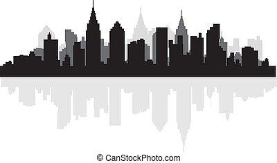 ville, silhouette, scape