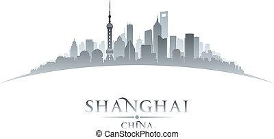 ville, silhouette, shanghai, horizon, porcelaine, fond,...