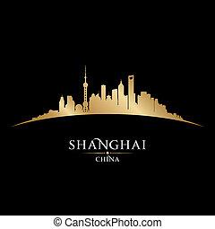 ville, silhouette, shanghai, horizon, porcelaine, fond, noir
