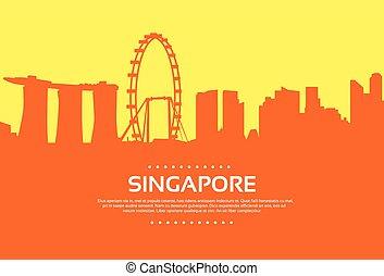 ville, silhouette, singapour, plat, horizon, gratte-ciel