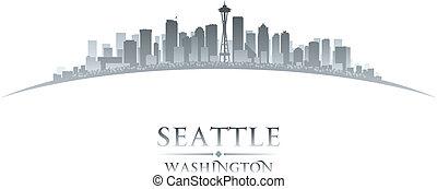 ville, silhouette, washington, horizon, fond, blanc, seattle