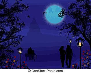ville, silhouettes, amants, parc