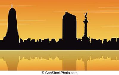 ville, silhouettes, coucher soleil, paysage, mexique