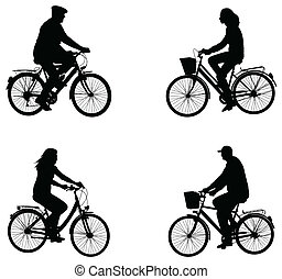 ville, silhouettes, cyclistes