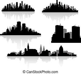 ville, silhouettes, ensemble