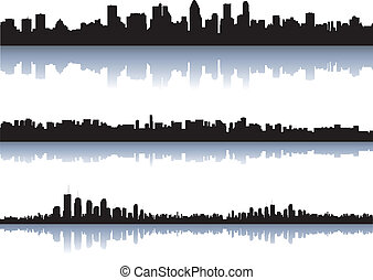 ville, silhouettes