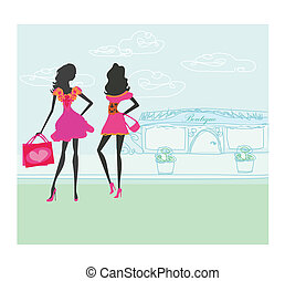 ville, silhouettes, mode, achats, filles