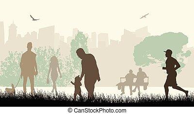 ville, silhouettes, parc, gens
