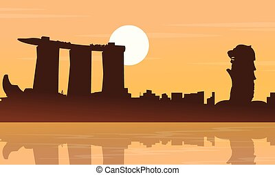 ville, silhouettes, paysage, collection, singapour