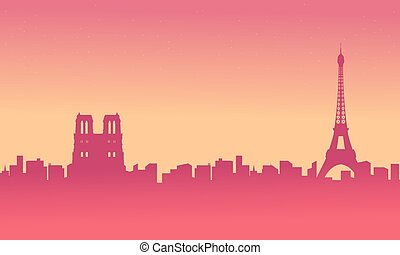 ville, silhouettes, paysage, fond, france