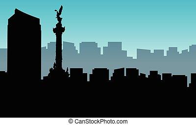 ville, silhouettes, paysage, mexique