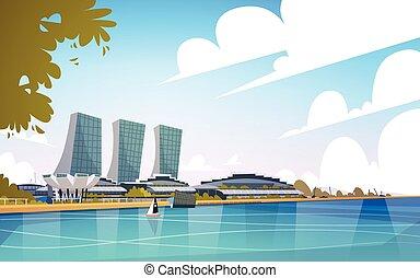 ville, singapour, horizon, gratte-ciel, fond, cityscape, vue