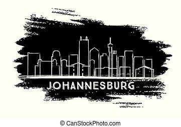 ville, sketch., afrique, horizon, silhouette., johannesburg, dessiné, main, sud