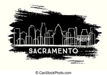 ville, sketch., sacramento, silhouette., horizon, californie, dessiné, main