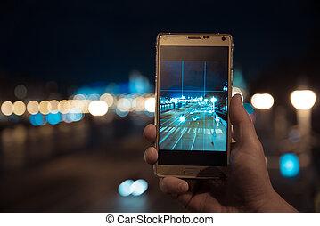 ville, smartphone, tir, nuit