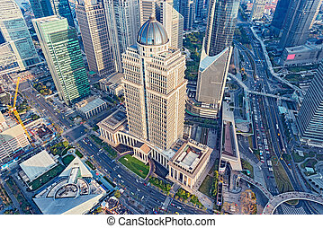 ville, soir, aérien, centre, shanghai, time., vue
