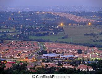 ville, soir, afrique, africaine, life., johannesburg, sud, ...