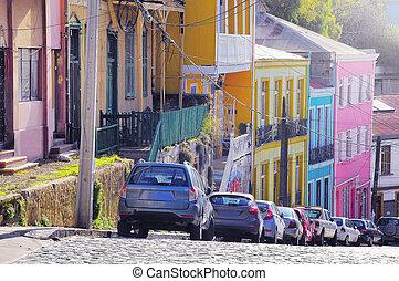 ville, soir, centre, rues, chile., time., historique, valparaiso., vue