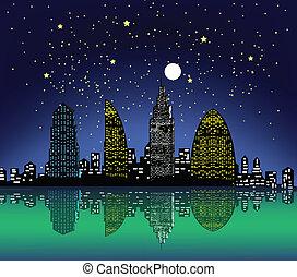 ville, soir