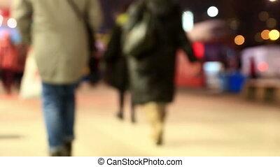 ville, soir, hiver, foule, gens, depersonalized, rue, mouvements