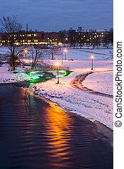 ville, soir, parc, hiver