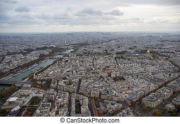 ville, soir, paris, nuageux, automne, vue