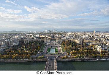 ville, soir, paris, vue