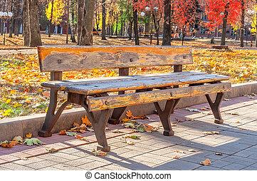 ville, solitaire, vieux, parc, ensoleillé, banc, jour automne