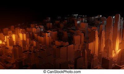 ville, sombre, clair, fond, eclats, rouges, 3d
