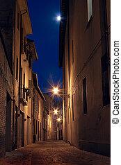 ville, sombre, vieux, ruelle