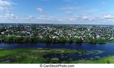 ville, sommet, gruazy, rivière, russie, matyra, vue