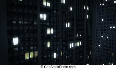 ville, sommets, nuit