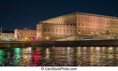 ville, stockholm, crépuscule