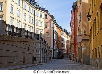 ville, stockholm, vieux, rue.