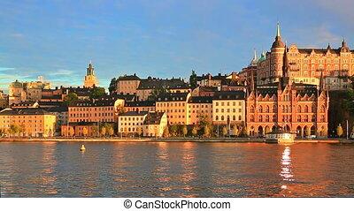 ville, stockholm, vieux, suède