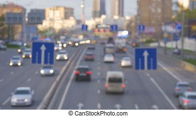 ville, streets., soir, grand, voitures, trafic