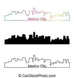 ville, style, arc-en-ciel, linéaire, mexique, horizon