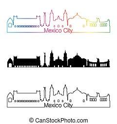 ville, style, arc-en-ciel, linéaire, mexique, v2, horizon